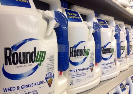 shelf full of glyphosate containers image